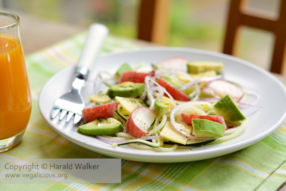 Wild Peach, Avocado and Zucchini Salad
