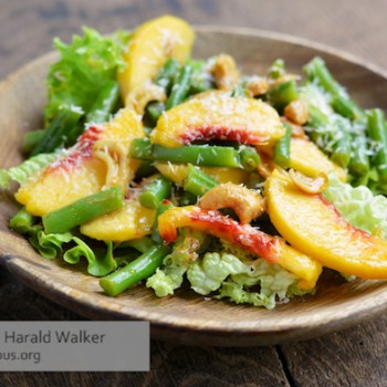 Green bean salad with Peaches, Nuts and Coconut