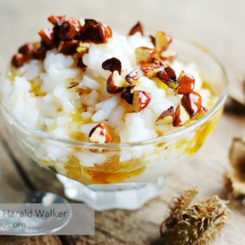 Beechnut topping over Rice Pudding