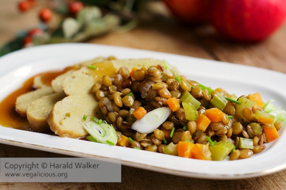 Seitan Medallions with Sweet and Sour Lentils