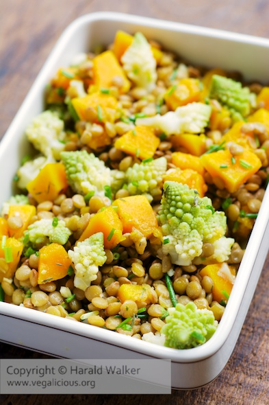 Lentil Salad with Pumpkin and Romanesco