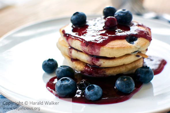 Lemon Blueberry Pancakes  with Blueberry Syrup