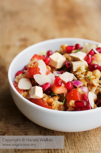 Bulgur Tomato Salad with Pomegranate Arils Mint and Almonds
