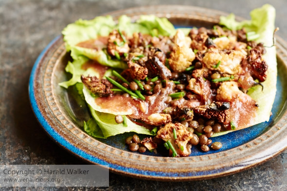 Lentils and roasted cauliflower salad