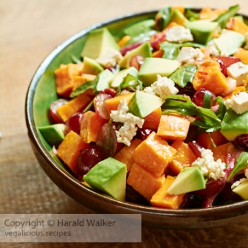 Roasted Sweet Potato Salad with Red Grapes, Dried Cranberries, Avocado and Non-Dairy Feta