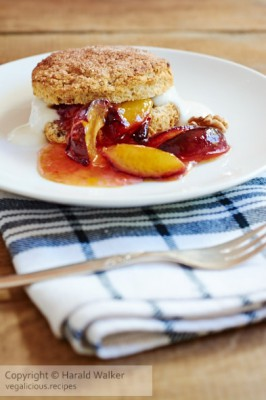 Vegan Walnut Cinnamon Shortcakes with Caramelised Plums