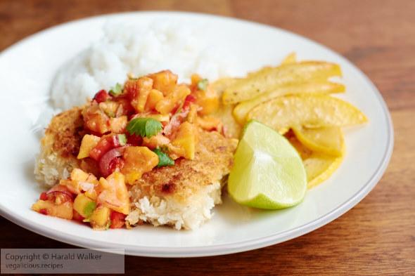 Tempeh Schnitzels with Papaya Salsa