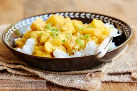 Curried Rutabaga and Apple on Rice