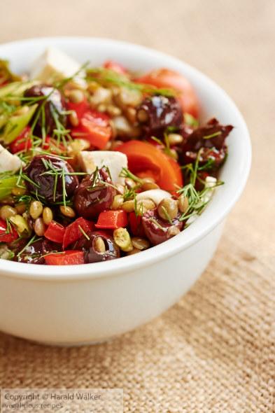 Greek-Flavored Lentil Salad with Tofu Feta