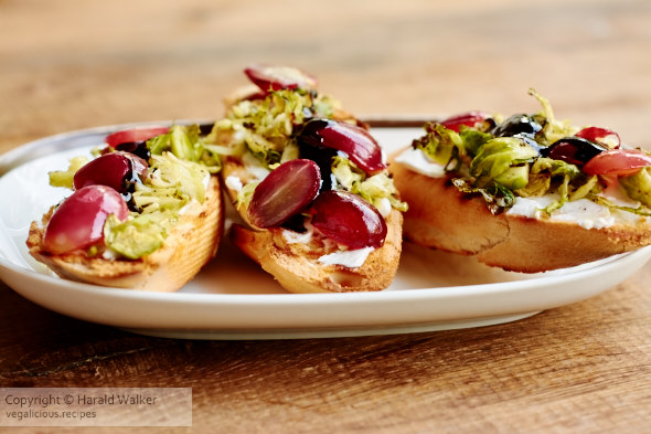 Roasted Brussels Sprouts and Grape Bruschetta