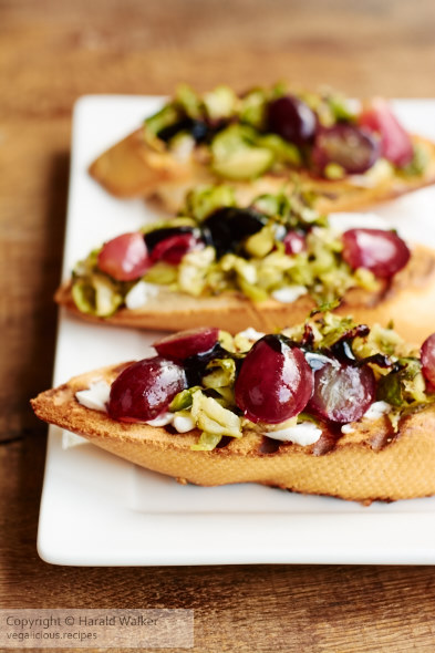Roasted Brussels Sprouts and Grape Bruschetta « Vegalicious Recipes