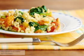 Risotto with Red Kuri Squash and Spinach