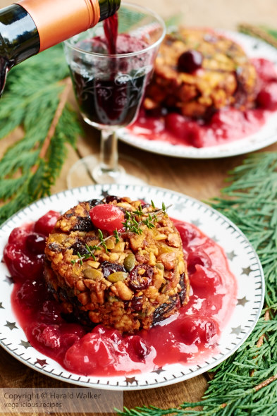 Tofu Nut And Dried Fruit Terrine With Orange Cranberry Sauce