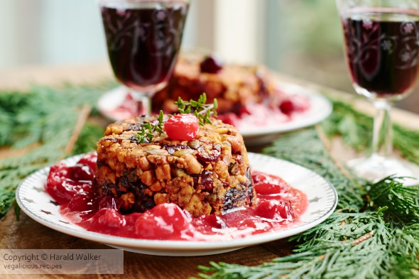 Tofu, Nut and Dried Fruit Terrine with Orange Cranberry Sauce