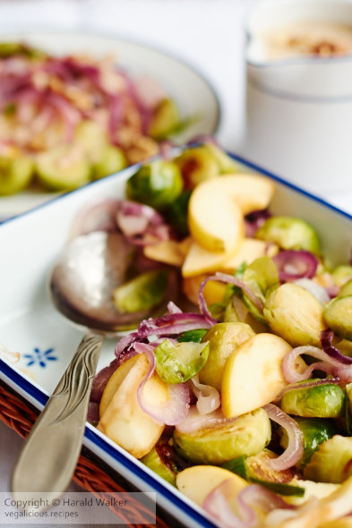 Brussels Sprouts with Apples and Red Onions