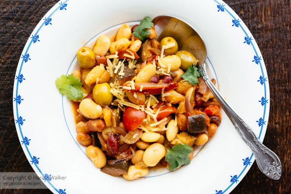Mixed Bean Bowl with Eggplant and Green Olives