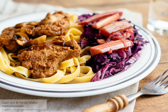 TVP Medallions and Red Cabbage with Rhubarb Sauce
