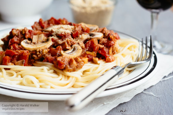 Spaghetti with Mushroom Walnut Bolognese