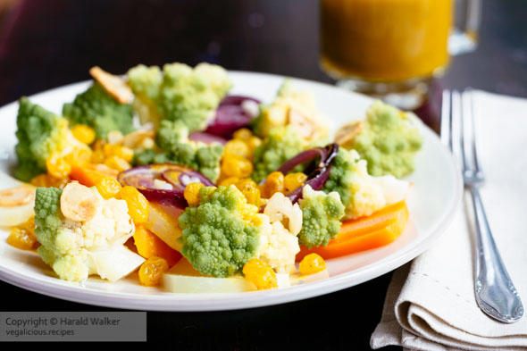 Warm Summer Vegetables with an Orange, Turmeric Raisin Dressing