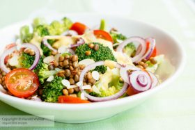Broccoli, Lentil Salad with Turmeric Yogurt Dressing