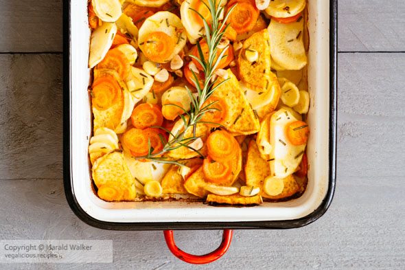 Roasted Parsnips, Carrots and Sweet Potatoes
