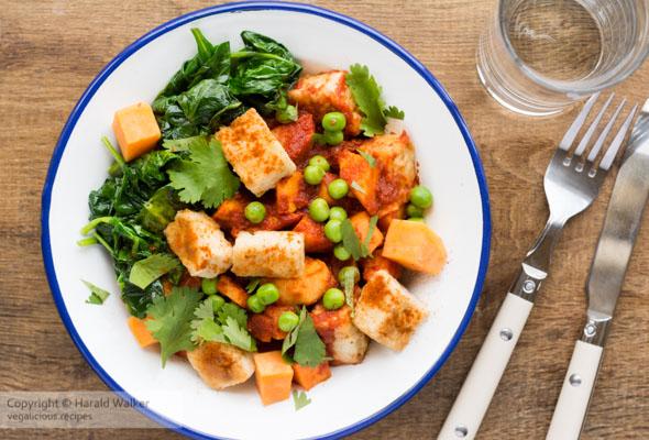 Tofu, Sweet Potato and Spinach Tandoori