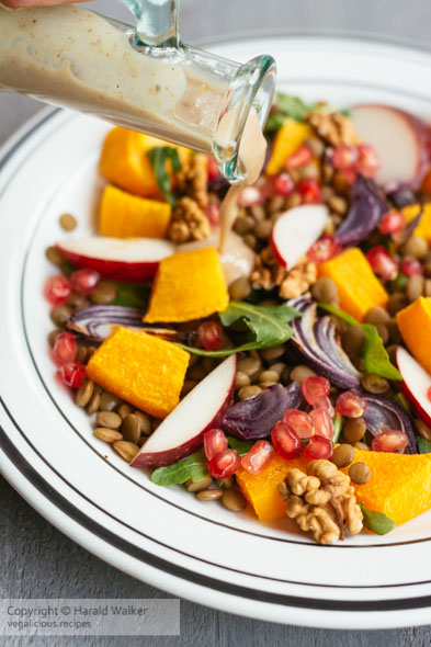 Warm Fall Salad with Walnut Maple Dressing