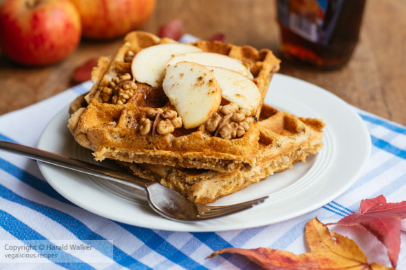 Vegan Apple, Walnut, Polenta Waffles