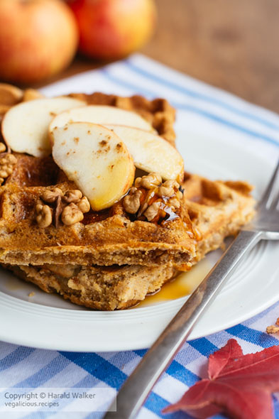 Vegan Apple Walnut Waffles