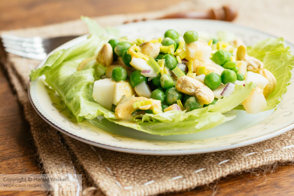Crunchy Curried Pea Salad with Apples Cashews and Water Chestnuts