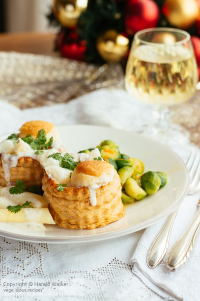 Creamy Asparagus filled Puff Pastry Shells with Chervil