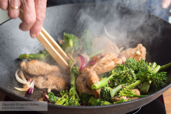 Making Sichuan TVP, Broccoletto, Cashew Stir Fry
