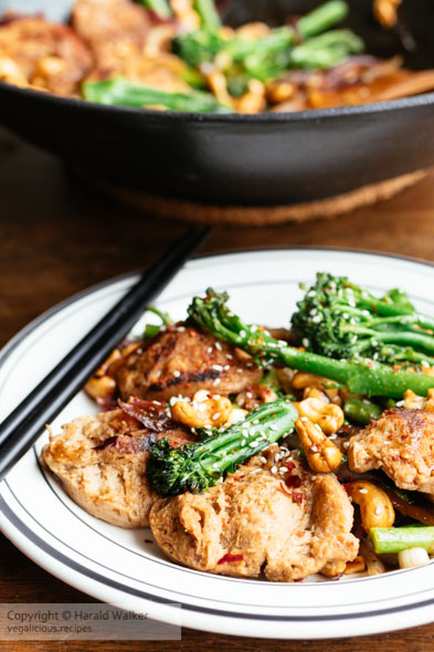 Sichuan TVP, Broccolini, Cashew Stir Fry
