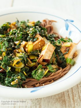Stir-fry Savoy Cabbage with Tofu on Buckwheat Pasta