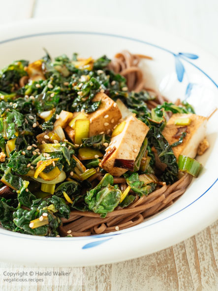 Stir-fry Savoy Cabbage with Tofu on Buckwheat Noodles