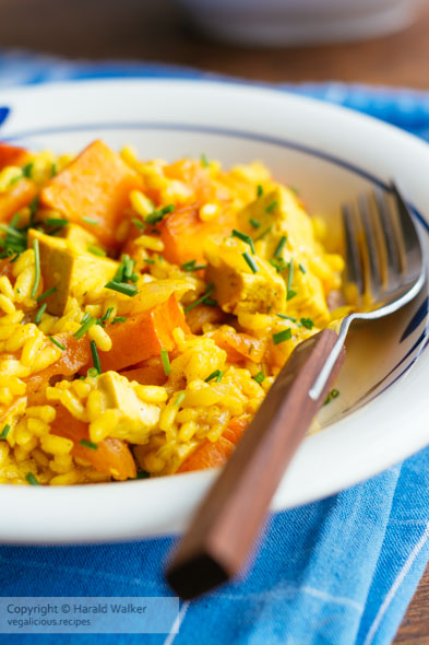 Orange Risotto with Tofu, Winter Squash and Apricot