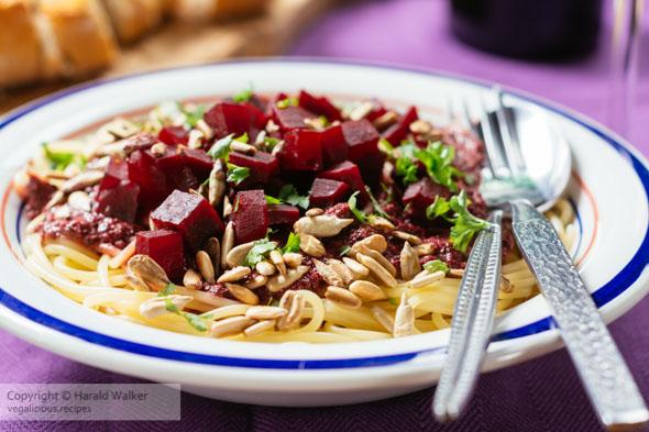 Purple Pesto Pasta with Beets