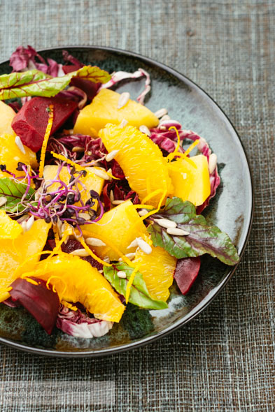Sweet Sour Salad with Beets, Rutabaga and Oranges