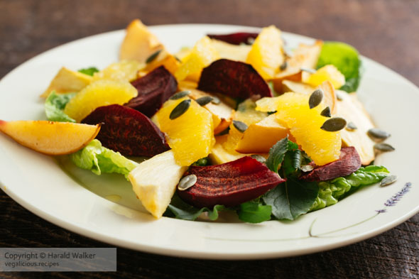 Salad of Roasted Parsnips, Beets and Quince with Oranges