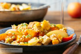 Winter Squash, Apple Risotto with Smokey Tofu Pieces