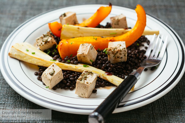 Beluga Lentils with Winter Squash, Parsnips and Tofu Feta