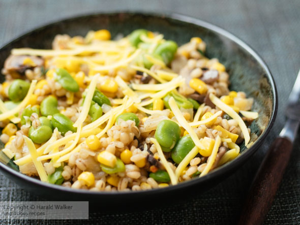 Barley Risotto with Fava beans, Mushrooms and Corn