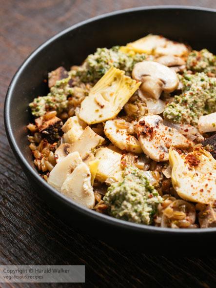 Spelt Pilaf with Artichokes, Mushrooms and Pesto