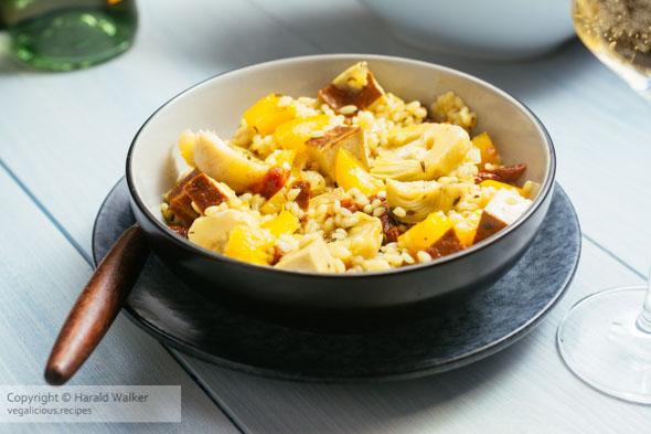 Artichoke Risotto with Sun-dried Tomatoes and Smokey Tofu