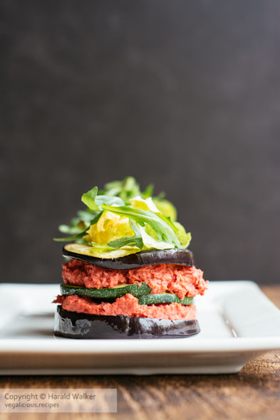 Eggplant Towers with Beet Hummus