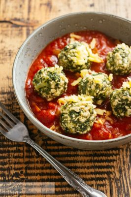 Vegan Spinach Gnudi dressed with Tomato Sauce