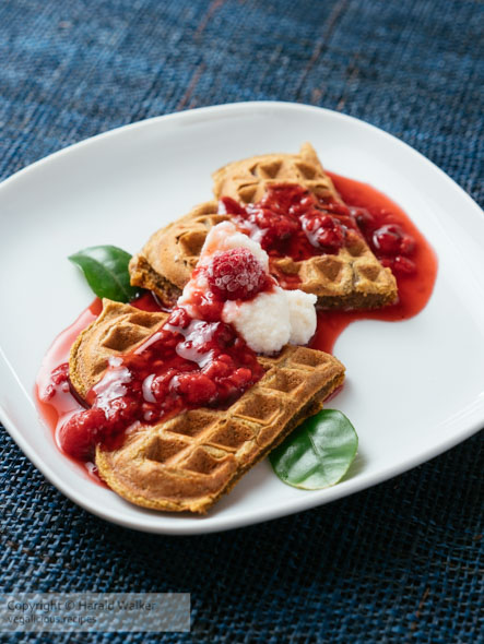 Beet Waffles with Raspberry Sauce