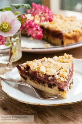 Chocolate chip cherry cake with an almond streusel topping