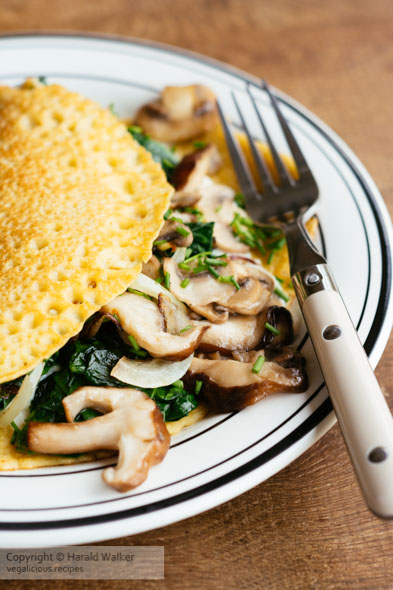 Creamy Mushroom and Spinach Crepes