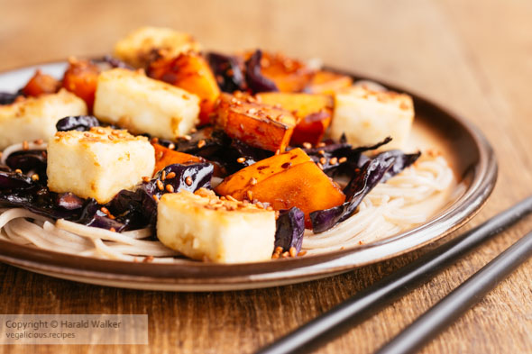 Red Cabbage and Winter Squash with Stir-fried Tofu